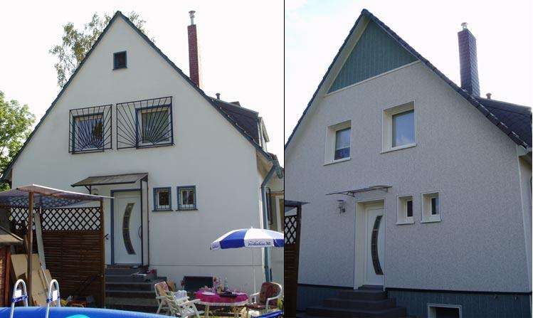 Fassade vorher nachher  Frank Hüttemann Bedachungen Wuppertal Meisterbetrieb Dachdecker ...